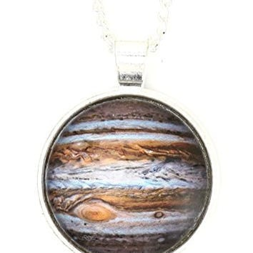 Planet Jupiter Necklace Silver Tone Outer Space Photo Pendant NP42 Fashion Jewelry