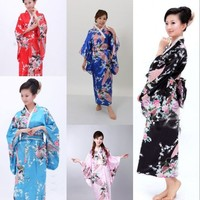 Hot new japanese geisha costume Kimono Costume Yukata Gown Japanese Floral Robe Haori Dress with Obi Geisha dress Free Shipping