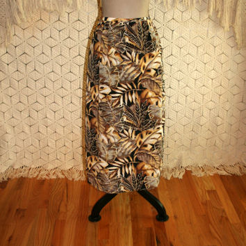 Vintage 80s Long Tropical Skirt African Leaf Print Maxi 1980s Gold Yellow Brown Women Skirts Vintage Clothing Medium Large Womens Clothing