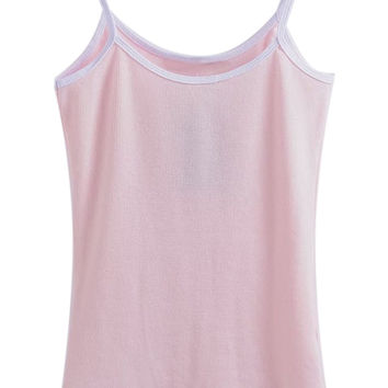 Pink Contrast Hem Cropped Cami Top