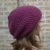 Ready to Ship - Slouchy Hat - Slouchy Beanie - Mens Hat - Womens Hat - Gaming Hat - The Eden in Dark Raspberry