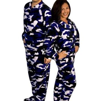 Purple Camo Adult Footed Pajamas with Drop Seat