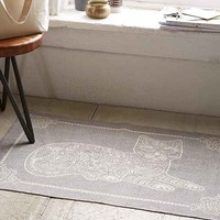 Plum & Bow Stamped Cat Printed Rug- Grey 2X3