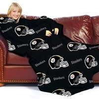 Pittsburgh Steelers Adult Comfy Throw Blanket with Sleeves