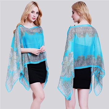 Paisley Print Chiffon Beachwear Poncho Tunic Shawl Scarf Poncho Cape Women Kaftan Bikini Beachwear Swimsuit Cover Up JH989114