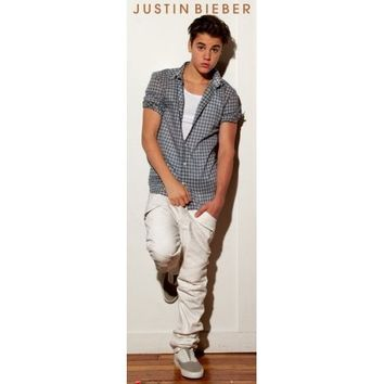 "Justin Bieber - Door Music Poster (Plaid Shirt) (Size: 21"" x 62"")"