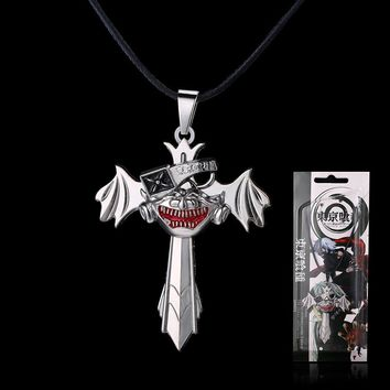 Anime Tokyo Ghoul cosplay Ken Kaneki Mask Cross Wing Pendant Necklace weapon accessary