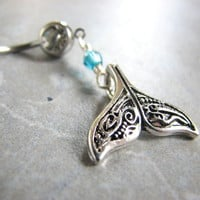 Fancy Silver Whale Tail Belly Button Piercing