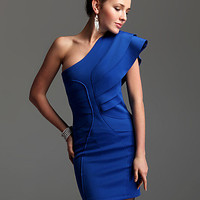 Blue Layered Ruffle Sleevless One Shoulder Bodycon Dress