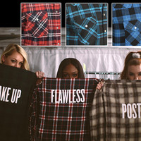 FLAWLESS FLANNEL Shirt Beyonce Drunk In Love Surfboard Shirt Limited Quantities Available - ONLY 12 left - 3 Colors to Choose From