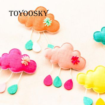 HANDMADE Star Children Hair Accessories Cartoon Art Clouds Hairpin Light Rain Tick Drip Edge Clip Cute Headgear Cloth Brooch