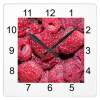 Raspberries Square Wall Clock