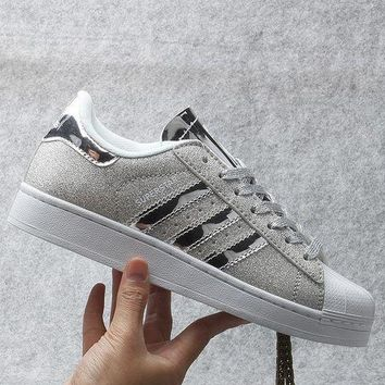 DCCKGV7 Originals Adidas Superstar W Men's Women's Shiny Shell-toe Classic Sneaker Sprot Shoes Silver - S41838
