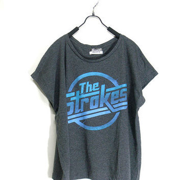 The strokes,women tshirt , dark gray shirt, crop top tank, women clothing, vest, rock tunic, Free size