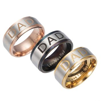 Gaxybb 3 colors Stainless Steel Engraved Ring I Love You Daddy Daddy Men Jewelry Ring DAD Ring