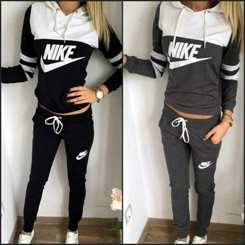 Fashion Hooded Patchwork Alphabet Print Stylish Sports Sportswear Set
