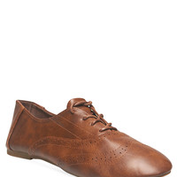 Faux Leather Wingtip Oxfords | Wet Seal