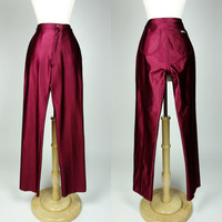 1980s red disco spandex metallic high waist matchstick tight pants, Fredericks of Hollywood inspired, Le Gambi, Small, 6