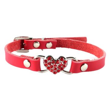 Cute Small Pet Dog Cat Puppy Love Heart Bling Crystal PU Leather Collar
