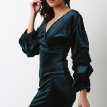 Velvet Ruched Statement Sleeve Mini Dress