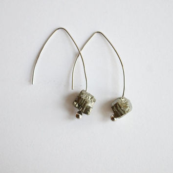 Iron nugget titanium cube 925 sterling silver earrings, simple, natural, gem, mineral crystal unique eco friendlyRaw Crystal Quartz 18k