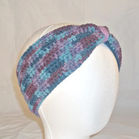 Women's Crochet Cinched Ear Warmer - Blue & Purple Multicolor - Crocheted Ear Warmer Headband