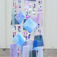 Handcrafted Stained Glass Art Wind Chime Blues Pinks Purple and Clear
