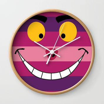 Cheshire Cat Wall Clock by Paula Oliveira