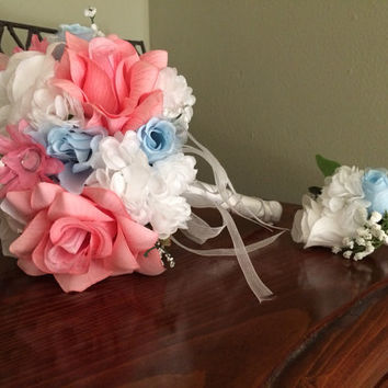 Pink White & Light Blue Wedding Bouquet and Boutonniere Set - Ready to ship