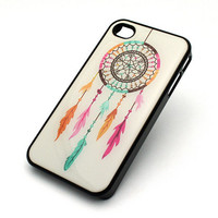 237 BLACK Snap On Case iPhone 4 4S Plastic Cover RAINBOW DREAMCATCHER feather