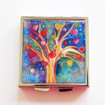 Square Pill box, Square Pill case, Pill Case, Pill Box, 4 Sections, Hearts, Tree, Bright Colors, KellysMagnets, Lauren Alexander (4076)