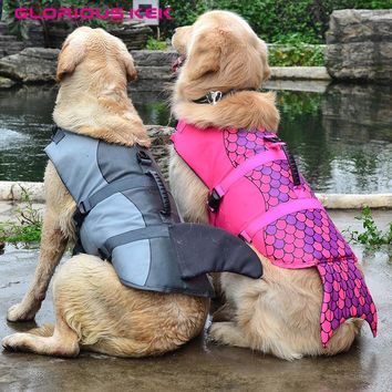 GLORIOUS KEK Newest Dog Life Vest Summer Pet Dog Life Jacket Safety Summer Dog Clothes Cute Mermaid Shark Dog Costume S/M/L