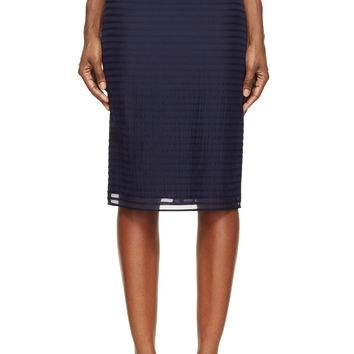 Burberry Prorsum Bright Navy Striped Silk And Wool Chiffon Pencil Skirt
