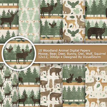 Printable Woodland Animal Digital Paper Woodland Digital Paper Woodland Background Woodland Scrapbook Rustic Woodland Forrest Animal Pattern