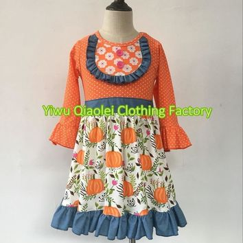 Sweat Girls Hot Selling New Design Cute pumpkin Baby dress Bouti acb14a220