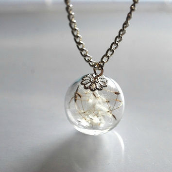 Resin Dandelion Necklace 925 Sterling Silver Plated Chain Solid Eco Resin Make A Wish Orb Silver Necklace Botanical Globe Beadwork
