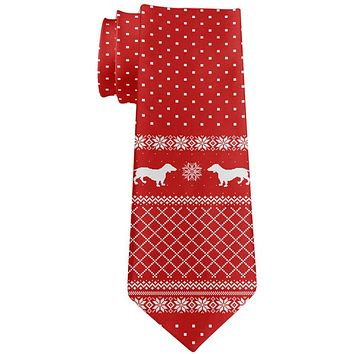 Ugly Christmas Sweater Dachshund All Over Neck Tie