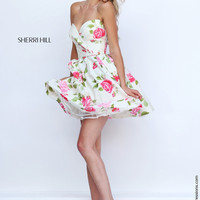 Sherri Hill 50116 Knee Length Strapless Floral Print Prom Dress – Off White by Bridal Expressions