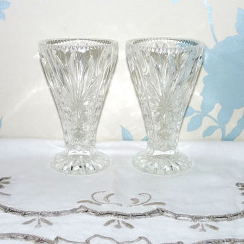 Small Glass Vases x 2, Starburst and Reed Design, Pair of Vases, Posy Vases, Pressed Glass, Depression Glass, Glassware