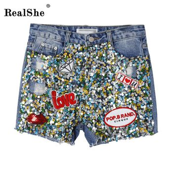 RealShe 2017 Fashion Buttons Retro Elastic Middle Waist Shorts Feminino Denim Shorts for Women Sequins Jeans Short
