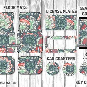 Vera Bradley Nomadic Floral Car Mat /Plate & Frame / Seat belt cover / Key Chain / Car Coaster / Car Accessory Gift  Set