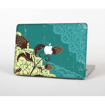 The Yellow Lace and Flower on Teal Skin for the Apple MacBook Air 13""