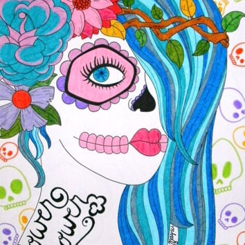 Flower Power Sugar Skull Girl with Blue Hair and Skull Background 9x12 Marker and Sharpie Drawing, Original Colorful Day of the Dead Art