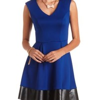 Faux Leather Trim Skater Dress by Charlotte Russe
