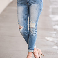 Do It Myself Distressed KanCan Skinny Jeans (Light Wash)