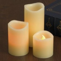 Lily's Home Everlasting Flameless Pillar LED Candle, Wax Melted Edge with Drip Effect, Set of 3