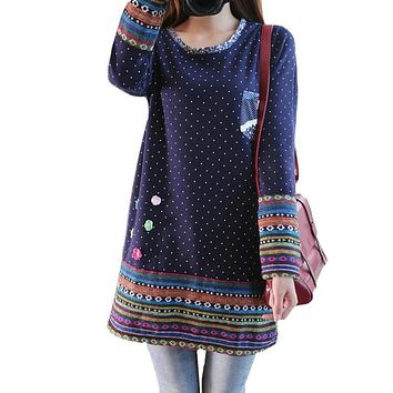Women Winter Fleece Long Sleeve Dress Plus Size Mori Girl Cute Party Dresses Polka Dot Printed Stereo Flower Stitching vestidos