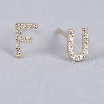 Armitage Avenue F U Pave Earrings