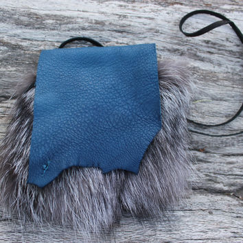 Blue Medicine Bag with Silver Fox Fur, Deer Leather Necklace Pouch
