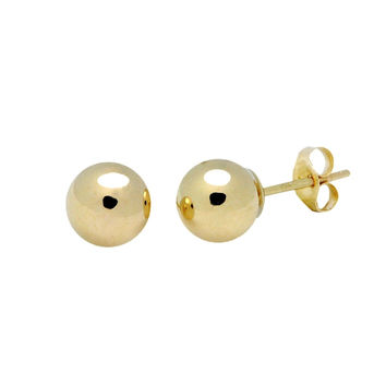 14k Yellow Gold Ball Stud Earrings High Polish Pushback